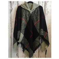 """Always My Style"" Fringe Trim Grey Plaid Hooded Poncho"
