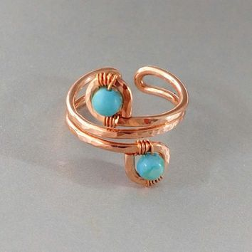 Adjustable Copper Turquoise Jasper Wire Wrap Finger Toe Ring