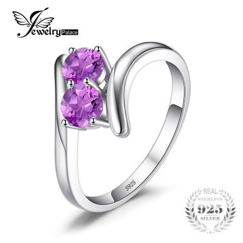 JewelryPalace Classic 0.66ct Round Natural Amethyst Engagement Rings For Women 100% 925 Sterling Silver Ring Charms Fine Jewelry
