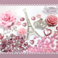 Pink & Silver Crystal Eiffel Tower Crown Flower Loop Decoden Kit Alloy Metal Bling DIY cell phone case Cabochon Deco Kit set DS729