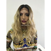 Blond ombre waves lace front wig  - Meridian 0418 36