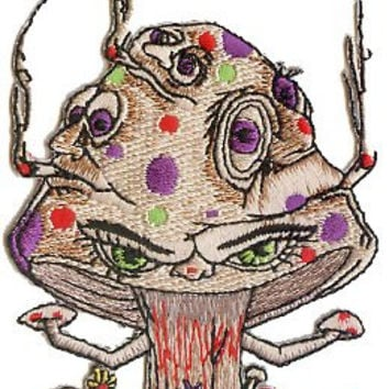 4' Psychodelic Smoking Faces Mushroom Shroom Patch