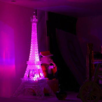 DCCKU7Q Eiffel Tower Color Changing LED Night Light Bedroom Home Decoration