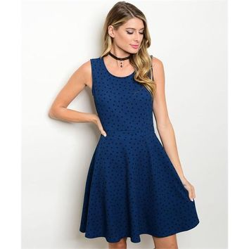 Women's Blue And Black Polka Dotted Party Dress