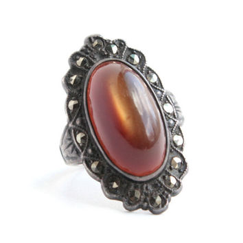 Vintage Genuine Art Deco Sterling Silver Uncas Ring -  Size 5 1/4 Brown Glass Stone & Marcasite Costume Jewelry / Filigree Marquise