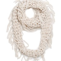 With Love From CA Lurex Open Knit Fringe Infinity Scarf - Womens Scarves - White - One