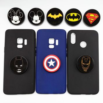 Cartoon Marvel Batman Ironman Phone Cases For OnePlus 5 5T OnePlus 6 Candy Color Silicone Expanding Grip Stand Holder Back Cover