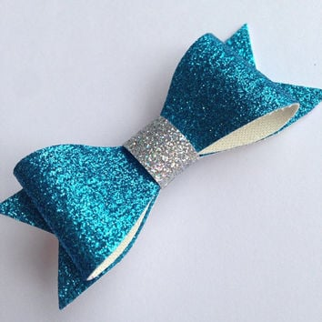 Frozen Themed Blue and Silver Glitter Canvas / Vinyl Hair Bow - 3 inches