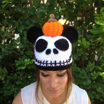 "Disney' ""Nightmare Before Christmas"" Inspired Jack Skellington Mickey Ear Hat"