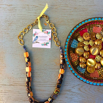 Golden chic coffee statement necklace /Handmade beadwork Necklace/ Eclectic style beads necklace