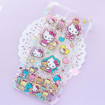 Hello Kitty iphone 7 resin decoden case, kawaii decoden, resin decoden case, hello kitty sticker case, kawaii cat case, dexoden kitten case