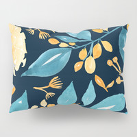 Teal and Golden Floral Pillow Sham by noondaydesign