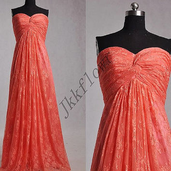 Long Unique Coral Lace Prom Dresses,Sweetheart Lace Party Growm Prom Dresses,Coral Lace Evening Dresses,Homecoming Dresses