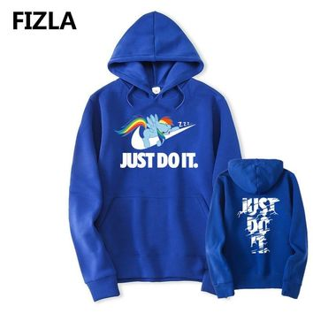 New JUST DO IT Hoodie My Little Pony Hooded Men Women Cotton Fall / Winter Warm Sweatshirts Boy Girls Casual Tracksuit Costume