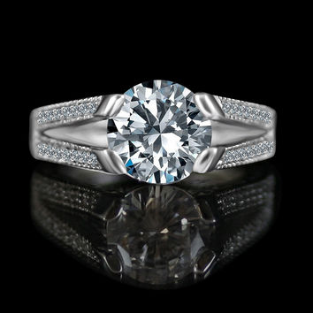 3ct tension style round vintage miligree design Diamond Veneer simulated diamond ring, 635R13624