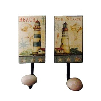 Vintage Metal Beach and Lighthouse Scene Wall Hooks - Set of 2