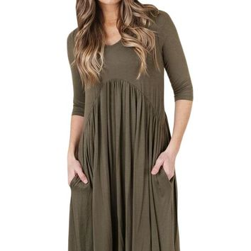 Chicloth Army Green 3/4 Sleeve Draped Swing Dress