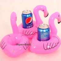 1Pcs hot Mini Cute fanny toys Red Flamingo Floating Inflatable Drink Can Holder Swimming Pool Bathing Beach Party Kids Bath Toy