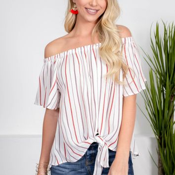 Fluttering White Striped Top