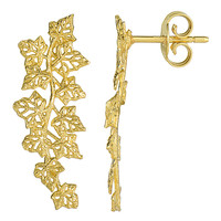 14K Yellow Gold Grape Leafs Drop Post Earrings