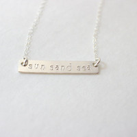 sun sand sea bar necklace, bar necklace, bridesmaid gift, gift for bridesmaids, beach jewelry, summer jewelry, beach necklace, summer neckla