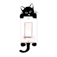 New Cat Wall Stickers Light Switch Decor Decals Art Mural Baby Nursery Room (Size: 16 g, Color: Black)