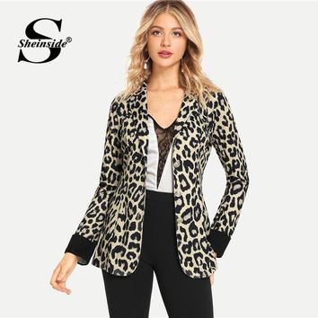 Sheinside Fashion Notched Collar Leopard Print Blazer Women 2019 Spring Single Breasted Blazer Office Ladies Workwear Outerwear