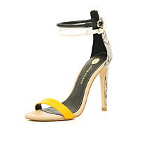 Beige contrast strap barely there sandals
