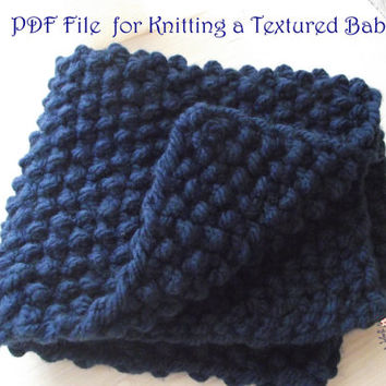 Easy Knitting Pattern, PDF to knit a Chunky Baby Blanket, suitable for begginers, Instant Download, Easy knit blanket