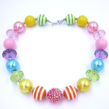 Rainbow Chunky Bead Necklace Bubblegum Jewelry Girls Toddler