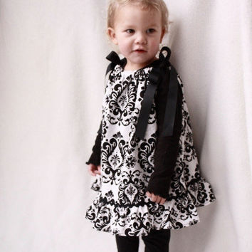 Baby Girl Damask Pillowcase Dress, Black and white Damask,