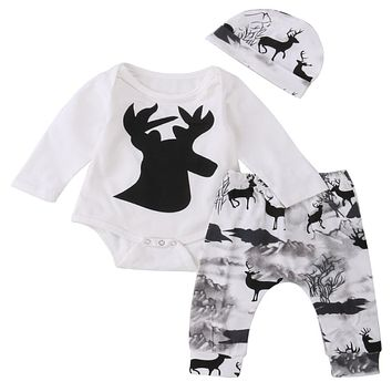 Newborn Baby Girl Boy Deer Printing Romper Pants Leggings hat 3pcs Cute Kids Outfits Set Clothes