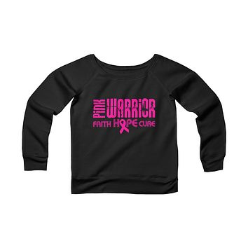 Pink Warrior Women's Breast Cancer Sponge Fleece Wide Neck Sweatshirt