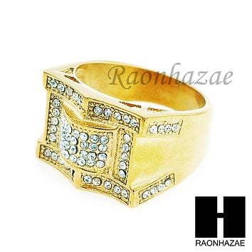 MEN ICED OUT RING 316L STAINLESS STEEL GOLD TONE CZ BLING RING SIZE 8-12 SR001G
