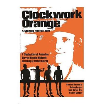 classic movie poster stanley kubrick's CLOCKWORK ORANGE 1971 violence 24X36