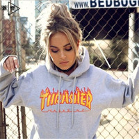 """""""Thrasher""""Thickening hoodie hooded cotton red flame red letters Grey"""