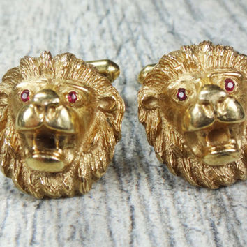 Antique 14k Lion Cufflinks Antique Gold Cufflinks Vintage Gold Ruby Birthstone Cufflinks Antique Cufflinks Vintage Cufflinks B.A. Ballou