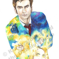FREE SHIPPING - 10th Doctor and Rose Tyler in the Medusa Cascade Print
