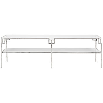 Helen Cocktail Table-White/Nickel