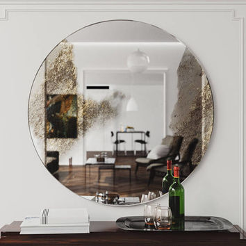 "48"" Round Wall Mirror. Golden accented decorative wall mirror, perfect for a chic interior or office. Handmade frameless round wall mirror"