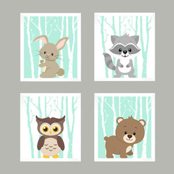 Wall Art, Wall Decor, Woodland Nursery, Forest Animals, Nursery Decor, Baby Decor, Baby Print, Nursery Print, Animal Print, Woodland Animals