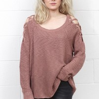 Strappy Shoulders Slouchy Knit Sweater {Dusty Pink}