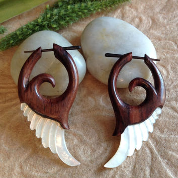 "Stick Post Earrings, ""Wildwood Wings"" Natural, Mother Of Pearl and Sono Wood, Hand Carved, Tribal"