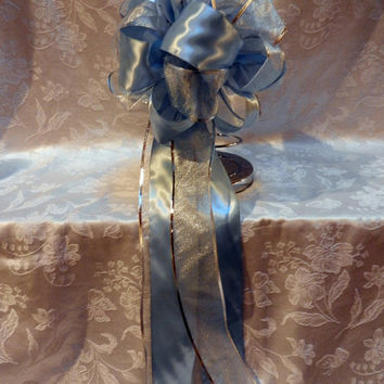 Light Blue Satin and  shimmery Silver  ribbons Wedding/ Pew Bows set of 10