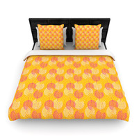 "Apple Kaur Designs ""Wild Summer Dandelions"" Gold Circles Woven Duvet Cover"