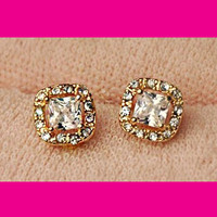 Charming Squares Rhinestone Earrings