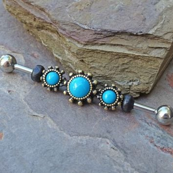 Turquoise Gold Industrial Barbell Scaffold Piercing