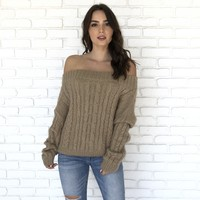 Fireplace Snuggle Off Shoulder Knit Sweater in Mocha