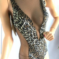 Cole of California Scandal Suit Vintage 1960s Leopard Mesh Swimsuit and Matching Cover Up Robe Wrap SM