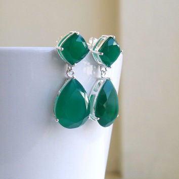 35% Off Angelina Jolie Inspired Emerald Green Onyx Stone Silver Dangle stud Earrings